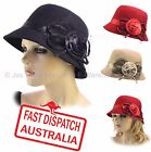 Wool Blend Cloche Ladies Great Gatsby 20s Bucket Flapper Party Felt Hat ROSE