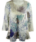 California Bloom Floral Print Flared 3/4 Sleeve Top Accented  with Lace Trim