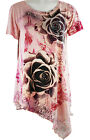 California Bloom Floral Print, Short Sleeve, Asymmetric Hem with Rhinestones