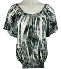Select Clothing - Sublimation Burnout Geometric Print  Boat Neck Women's Top