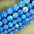 """Faceted Blue Fire Agate Round Beads 15"""" 6mm 8mm 10mm 12mm 14mm"""