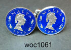 Malta enamelled coin cufflinks  2 cents Penthesilea , Queen of the Amazons