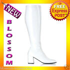 S20 Ladies GoGo White Knee High Womens 60'S 70'S Disco Shoes Boots - Wide Width