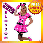 J80 Ladies Pink Minnie Mickey Mouse Fancy Dress Halloween Disney Theme Costume