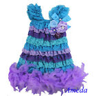 Crystal Pearl Blue Purple Lavender Lace Pettidress Feather Party Dress 6M-5Y