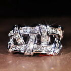 18k White Gold Plate Clear Swarovski Crystal Women Wedding Silver Nest Ring R149