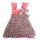 Girls Coral Pink Silver Cap Sleeves Lace Ruffles Pettidress Party Dress 6M-5Y