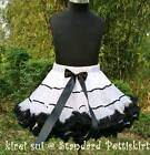 White Black Satin Binding Pettiskirt Tutu 1-10Y WB73