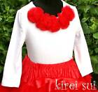 White Long Sleeves Pettitop Red Rosettes Party 1-7 F2