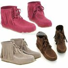 New 4 Sizes Upper Faux Suede Women Tassels Lace Flat Ankle Shoes Boots Hot B20E