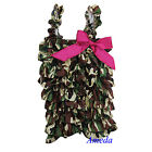 Baby Girls Green Camo Hot Pink Bow Satin Petti Romper Rompers Bodysuit NB-5Y
