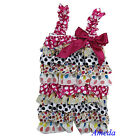 Baby Girls White Hot Pink Heart Polka Dots Satin Lace Petti Romper Rompers NB-3Y