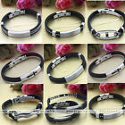 Black Rubber Stainless Steel Chain Link Wristband Clasp Bracelet Men Punk Gift
