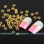 Lot 100 Alloy Gold Silver 3D Heart Nail Art Phone Beads Glitters DIY Decoration