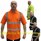 Hi Viz Safety Polo Breathable T-shirt Mens Reflective Tape Short Sleeve Collar