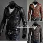 New Men Qualit Slim Fit Pu Leather Jackets Coats Brown Black 4 Size N98B