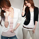 New Slim Short One Button Suit Blazer 3/4 Sleeve OL Outwear Jacket Coat Hot