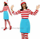 4-22 Wheres Wally Wenda Costume & Tights Hat Glasses Ladies Fancy Dress Outfit