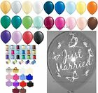 Just Married Clear Butterfly Helium Balloons Ribbon Weights 10 Table Wedding Kit