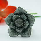 GUNMETAL EP FLOWER CRYSTAL CHUNKY RING SIZE 5 6 7 8 9 10