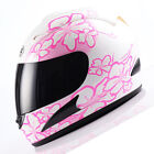 NEW DOT Adult Motorcycle Full Face Helmet White Women Pink Flower Size S M L XL