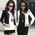 Ladies Sleeve Rivet Stud Short Casual Suit Coat Jacket Blazer Top Hot
