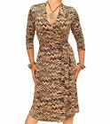 New Brown and Beige Zig Zag Print Collared Wrap Dress