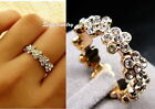 Rose Gold Filled Clear Women Flower Bridal Ring Made With Swarovski Crystal R157