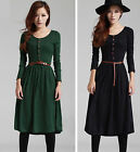 Retro Button Front Decor Elastic Long Sleeve Slim Pleated Dress with Belt #D65