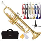 New Brass Bb Beginner Trumpet Gold Silver Black Blue Purple Green w/ Case +Stand
