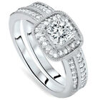 1 1/6ct Princess Cut Cushion Halo Diamond Engagement Ring Set 14K White Gold