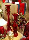 Gisela Graham Christmas Red Glass Ball Candlestick - Large 43 cm or Small 35 cm