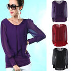 New Women Lady's Ladies Casual Long Sleeve Crew Neck top Shirt Blouse 3 color