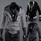 Mens Casual Double Zip Jacket Hoody Coat Outwear Sweatshirt Hoodies