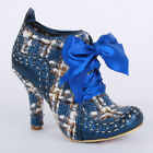 Irregular Choice Abigails Party Womens Laced Textile Heels Shoes Blue Beige