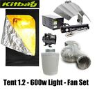 "Hydroponic Grow Room Tent Kit Fan Carbon Filter 4"" 5"" Light Kit - 250 600w"