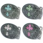 BBUM0136 WESTERN RODEO COWGIRL UP RHINESTONE CROSS CLUSTER FLORAL BELT BUCKLE