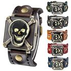 Men's Women Gothic Retro Leather Band Skull Square Quartz Dial Wrist Watch Gift