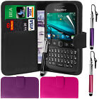 PU Leather Wallet Case Cover, LCD Film & Retractable Stylus for Blackberry 9720