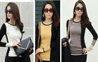 Fashion Womens Girls Slim Soft Long Sleeve Tops Round Neck T-Shirt Tops Blouse