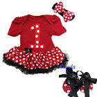Baby 1st Birthday Minnie Mouse Pettiskirt Bodysuit Tutu Romper Crib Shoes 0-18M