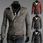 Fashion Korean Men's Short Style Slim Fit Faux Leather Coat Jacket Outerwear New