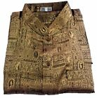 Mens Jacquard Weave Thai Silk Shirt  Gold Mandarin Collar / Short - Long  S-XXXL