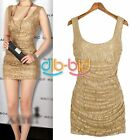 Hot New Vintage Womens Gold Lace U Neck Back Bodycon Stretch Party Mini Dress
