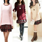 New Women Girl Two-piece Long Sleeve Stitching Dress Sweater Shirt Top M2040