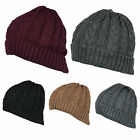 Z93 MENS TURN UP WINTER WARM CABLE KNITTED BEANIE SKI HAT DESIGNER RETRO RIB HAT