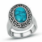 316L Stainless Steel Women's Vintage Blue Turquoise Pretty Finger Ring Size 6-11
