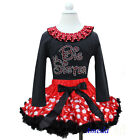 Minnie Mouse Pettiskirt Rhinestone Big Sister Black Tee Top 2pc Party Dress 1-7Y