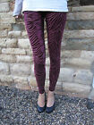 EXTRA LONG Leggings Velour Burnout Fabric Oxblood SIZES 8 - 18  Tall