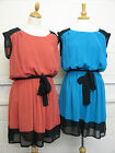 PLUS SIZE DRESS LADIES LINED CHIFFON BELTED 2 COLOUR ELASTICATED WAIST